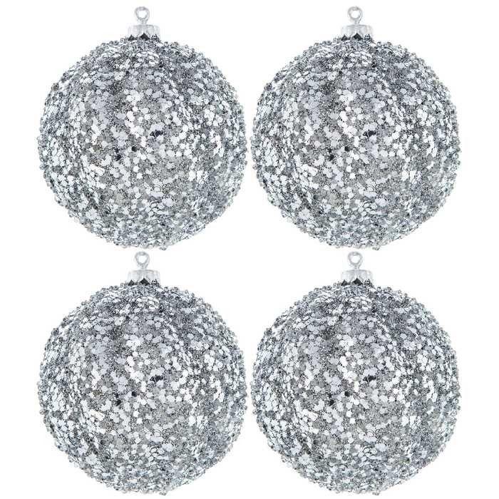 Platinum Scalloped Sequin Ball Ornaments