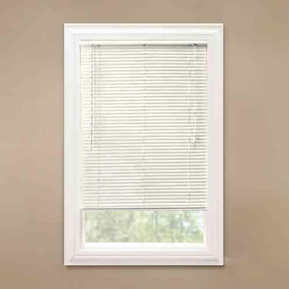 Hampton Bay Alabaster 1 In Room Darkening Vinyl Blind 34 5 In W X 48 In L Actual Size 34 In W X 48 In L 1079347838867 Vinyl Blinds Vinyl Mini Blinds Vinyl Room