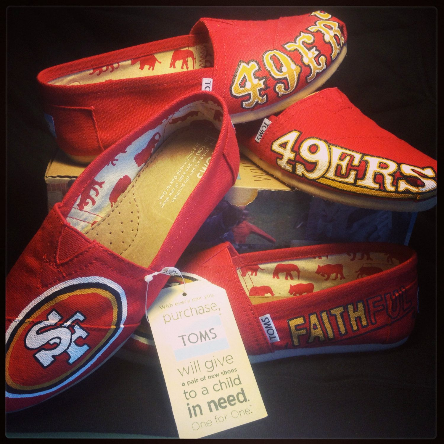 San Francisco 49er hand painted by ShoesBySmiley on Etsy, $115.00