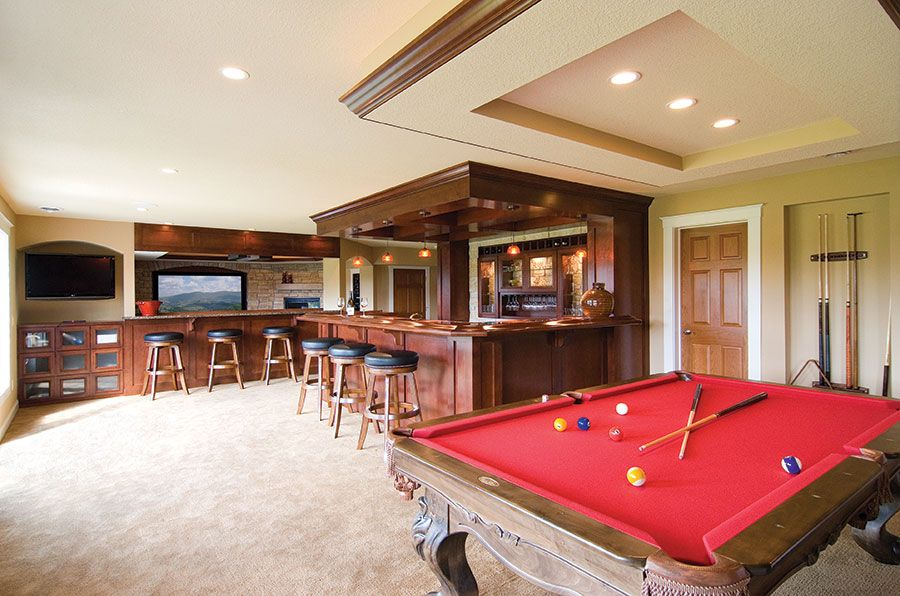 The Basement Bar And Game Area Provide A Variety Of Seating Options Around The  Bar And The Snack Ledge.