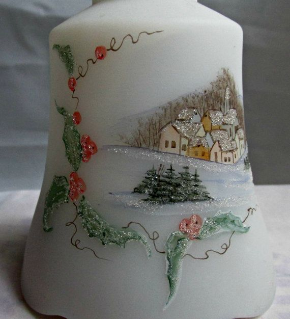 Fenton Christmas Village Scene Art Glass Sugar by EauPleineVintage