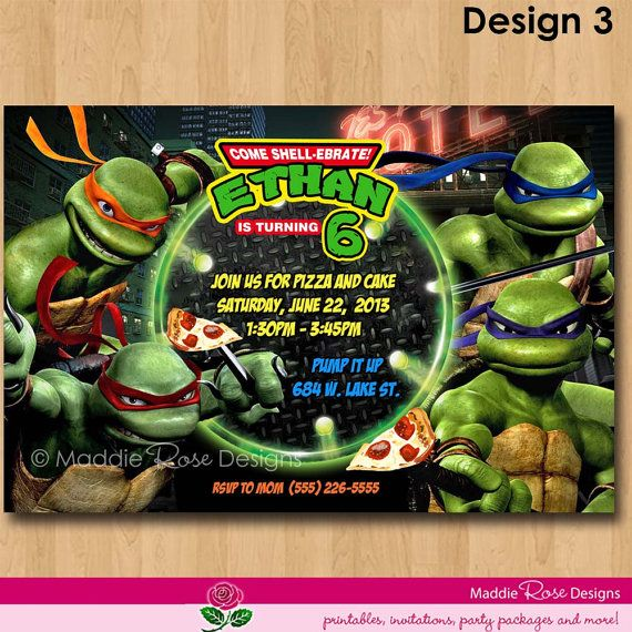 photograph relating to Printable Ninja Turtle Invitations named Teenage Mutant Ninja Turtles Invitation, Printable TMNT