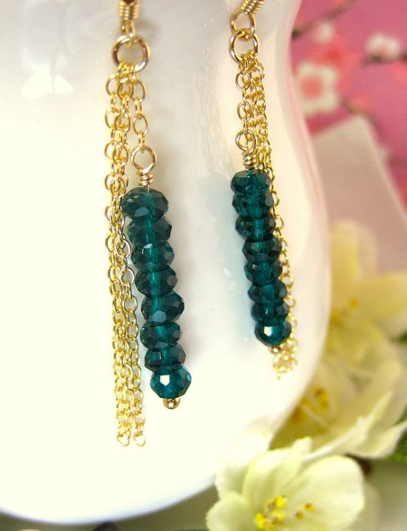 Peacock Gold Tassle Chain Dangle Earrings Teal Green by KBlossoms