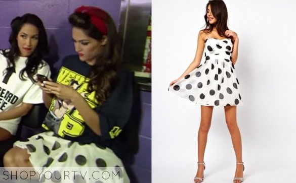 Wwe total divas season 1 episode 9 nikki 39 s polka dot dress tv show fashion style and clothes Nikki bella fashion style