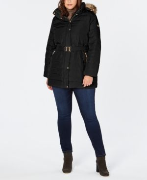 cebe41ba708 Michael Michael Kors Plus Size Faux-Fur-Trim Hooded Belted Down Coat -  Black 2X