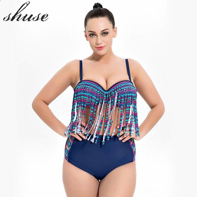 a1ac64aba90 SHUSE Plus Size Bikini Badedragt Kvinder Højt Talje Patchwork Print Solid  Push Up Bikini Set Badetøj Famale 6XL Størrelse Beachwear
