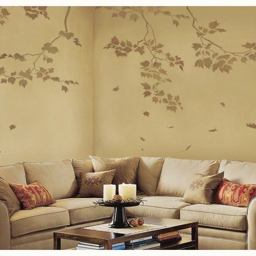 Wall Stencil Sycamore Reaching Branch - better than wallpaper Wall