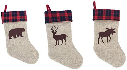 burlap and plaid woodland bear deer elk 18 inch holiday stockings set of 3 dennis east