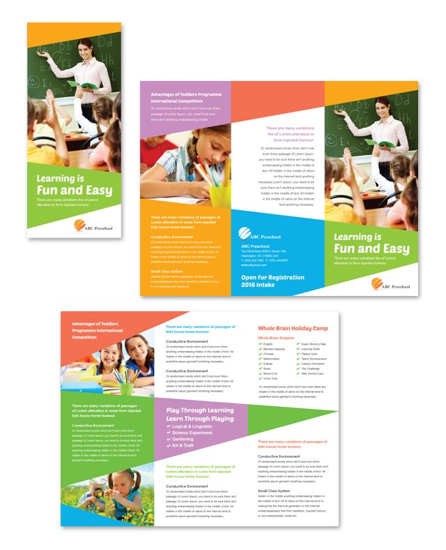 Preschool Education Tri Fold Brochure Template http\/\/wwwdlayouts - advertising brochure template