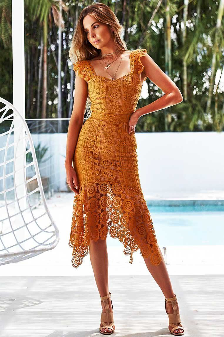 e0d0f7fdf9e2 Giselle Lace Midi Dress - Mustard Lace Midi Dress, Mustard, Short Sleeve  Dresses,