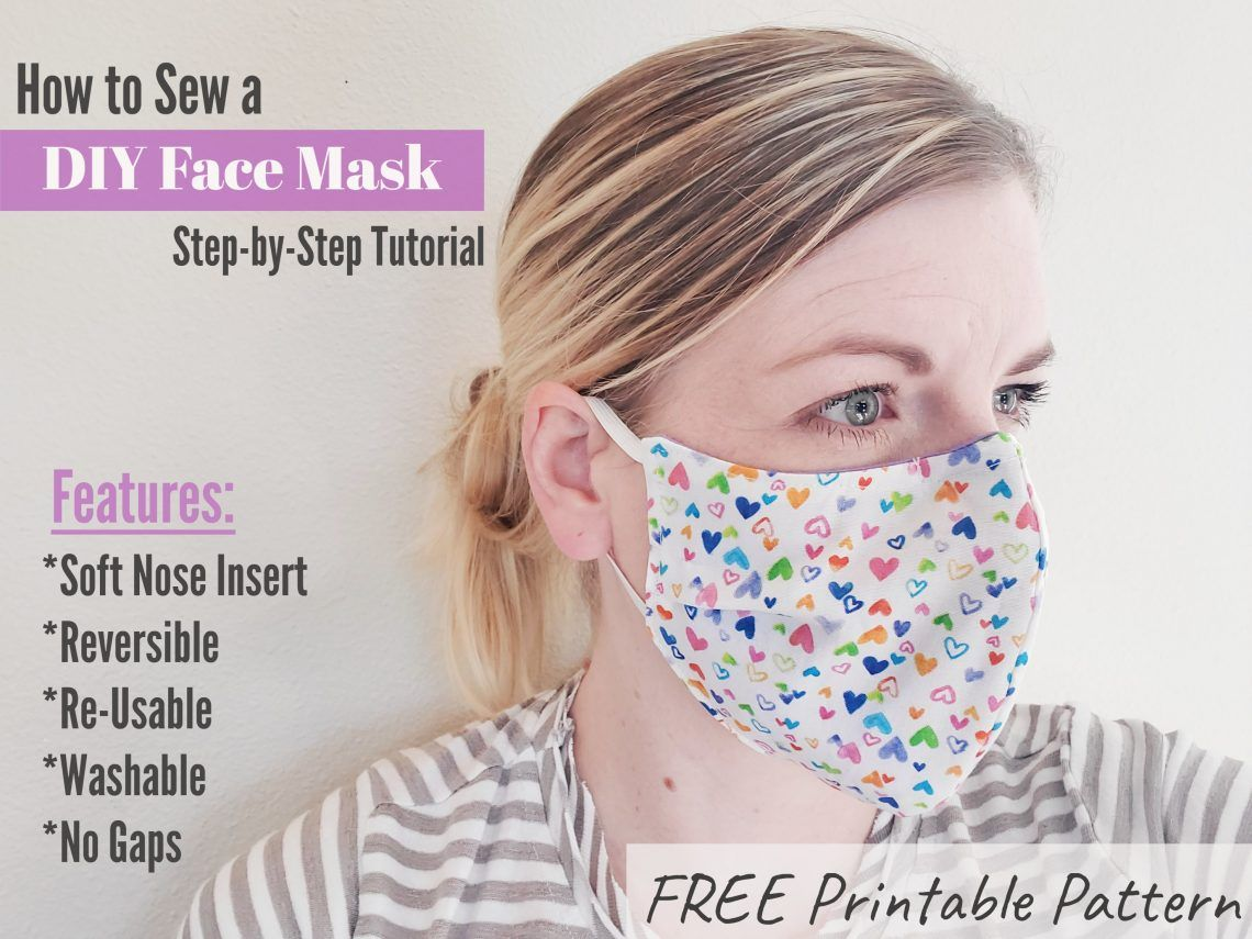 Fabric Face Mask with TIES Easy face masks, Diy face