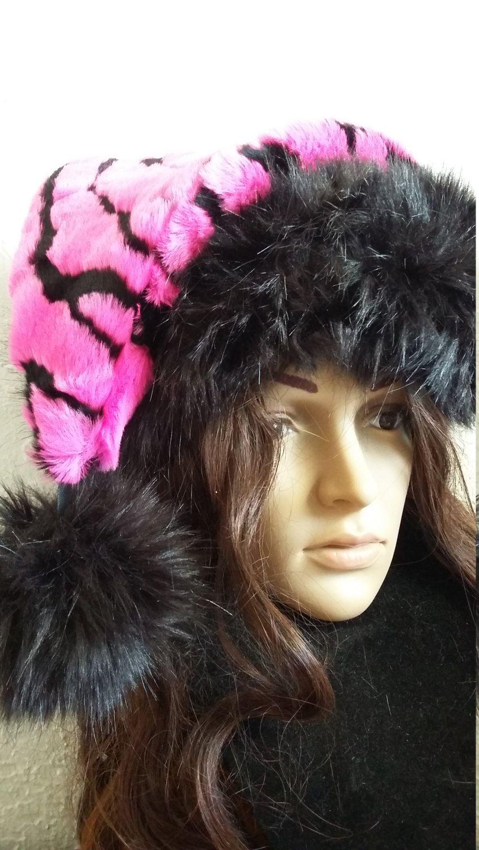 bbf235aae8eb8 Sexy hot pink Zebra Santa hat with black trim by OriginalsByEva on Etsy