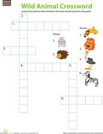 animal crossword puzzle kidos science worksheets worksheets crossword. Black Bedroom Furniture Sets. Home Design Ideas