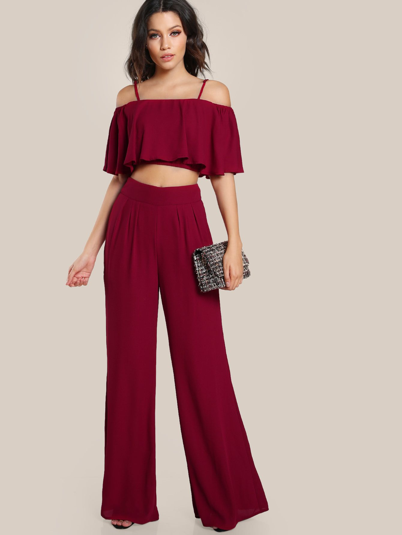 7e9a71aff8 Shop Crop Flounce Top And Box Pleated Palazzo Pants Set online. SheIn  offers Crop Flounce Top And Box Pleated Palazzo Pants Set & more to fit  your ...