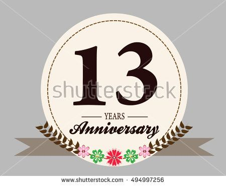 13 Years Anniversary Logo With Oval Shape Flower And Ribbon