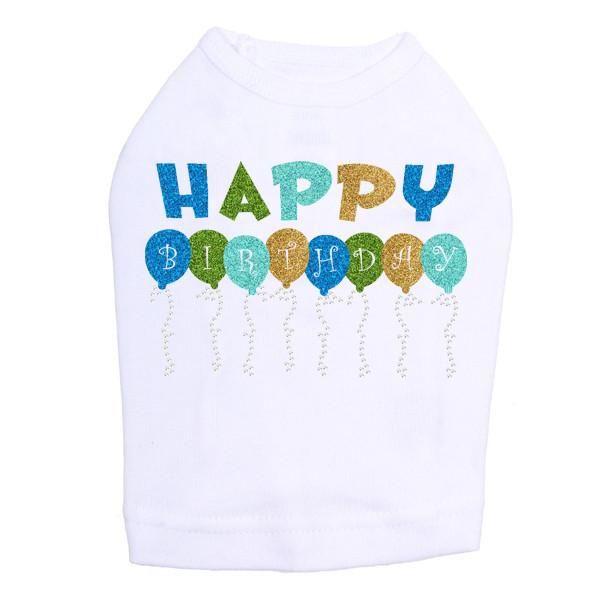 Happy Birthday Balloons Blue Rhinestone Dog Tank