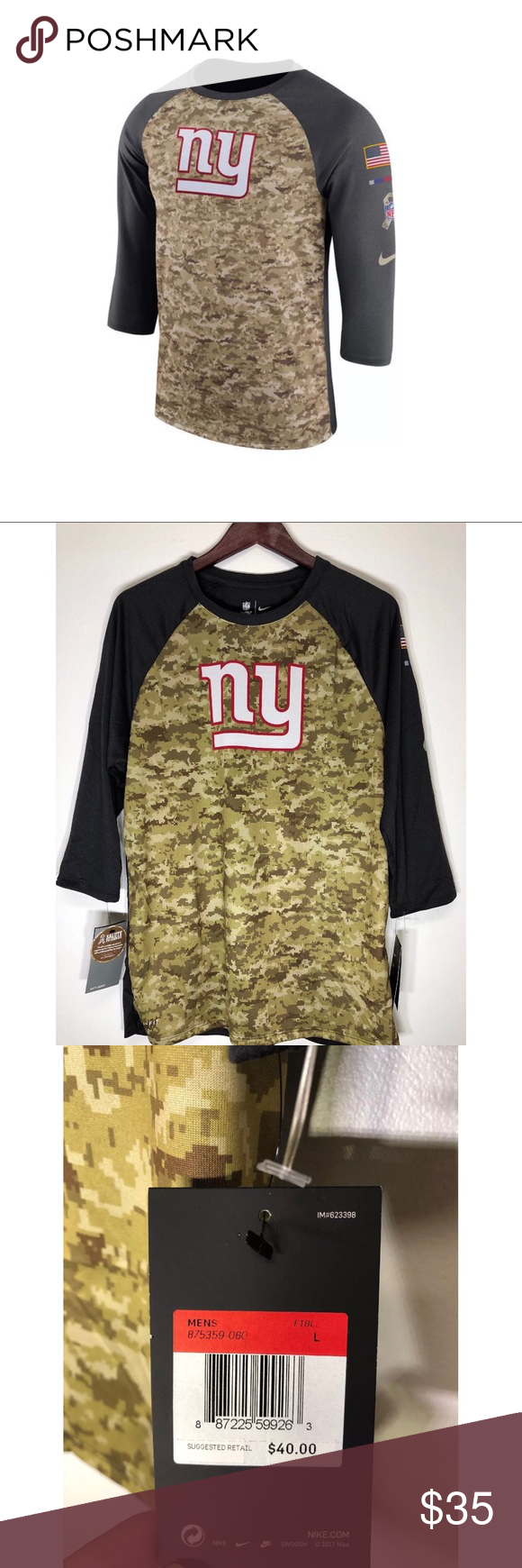 """NY GIANTS NFL SALUTE TO SERVICE 3/4 SLEEVE SHIRT L NY GIANTS NFL 2017 SALUTE TO SERVICE  3/4 SLEEVE SHIRT """"SOLD OUT"""" Large  NWT Nike Shirts Tees - Short Sleeve #salutetoservice NY GIANTS NFL SALUTE TO SERVICE 3/4 SLEEVE SHIRT L NY GIANTS NFL 2017 SALUTE TO SERVICE  3/4 SLEEVE SHIRT """"SOLD OUT"""" Large  NWT Nike Shirts Tees - Short Sleeve #salutetoservice NY GIANTS NFL SALUTE TO SERVICE 3/4 SLEEVE SHIRT L NY GIANTS NFL 2017 SALUTE TO SERVICE  3/4 SLEEVE SHIRT """"SOLD OUT"""" Large  NWT Nike S #salutetoservice"""