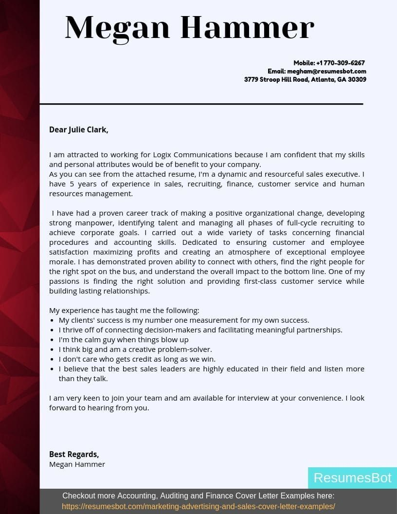 Account Executive Cover Letter Samples & Templates [PDF