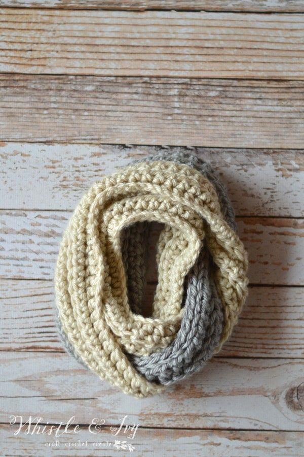 Chunky Ribbed Infinity Scarf | Gehäkelten schal, Schals und Häkeln