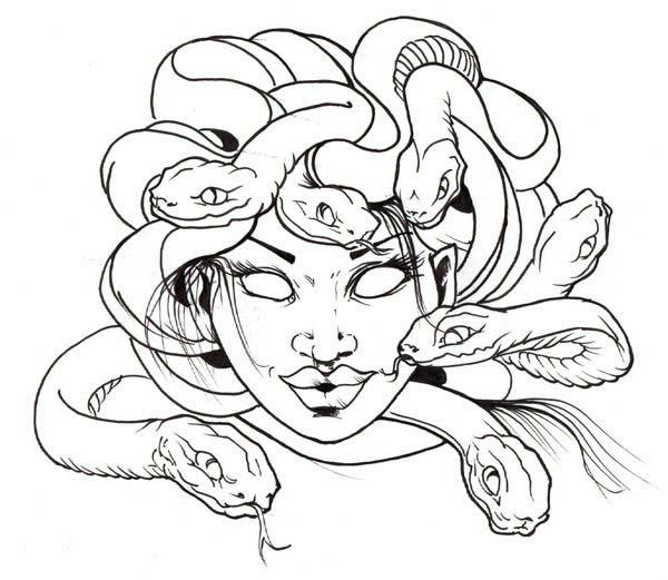 Awesome Medusa Snake Hair Coloring Page Medusa Drawing Medusa Artwork Mermaid Drawings