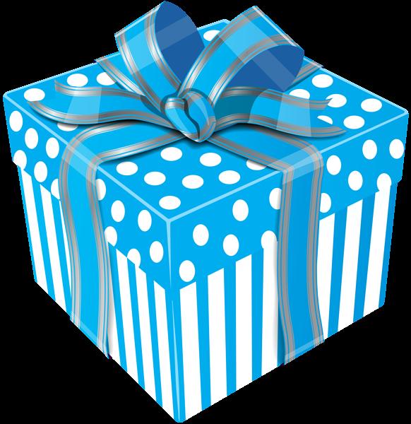 Cute Blue Gift Box Transparent PNG Clip Art Image