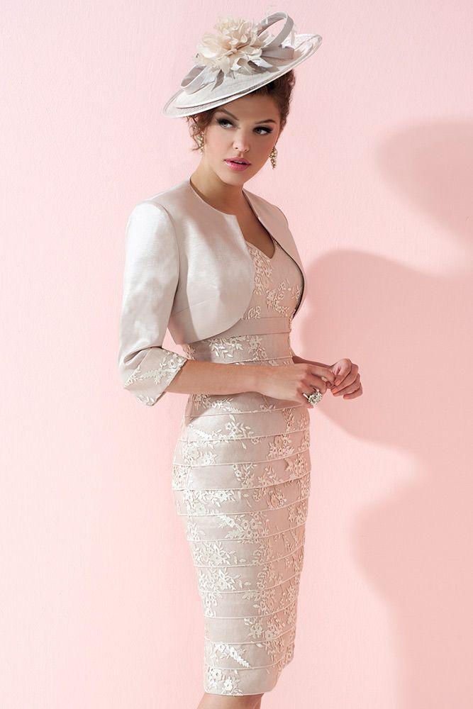 Ispirato IW934 Bandage Style Dress with Bolero Jacket in Vanilla ...