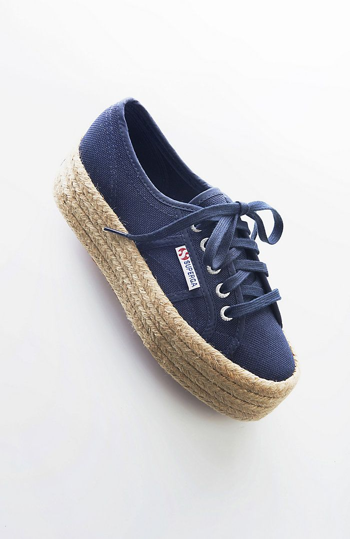 448f98509 Superga® raffia-wrapped platform sneakers   Shoes! in 2019 ...