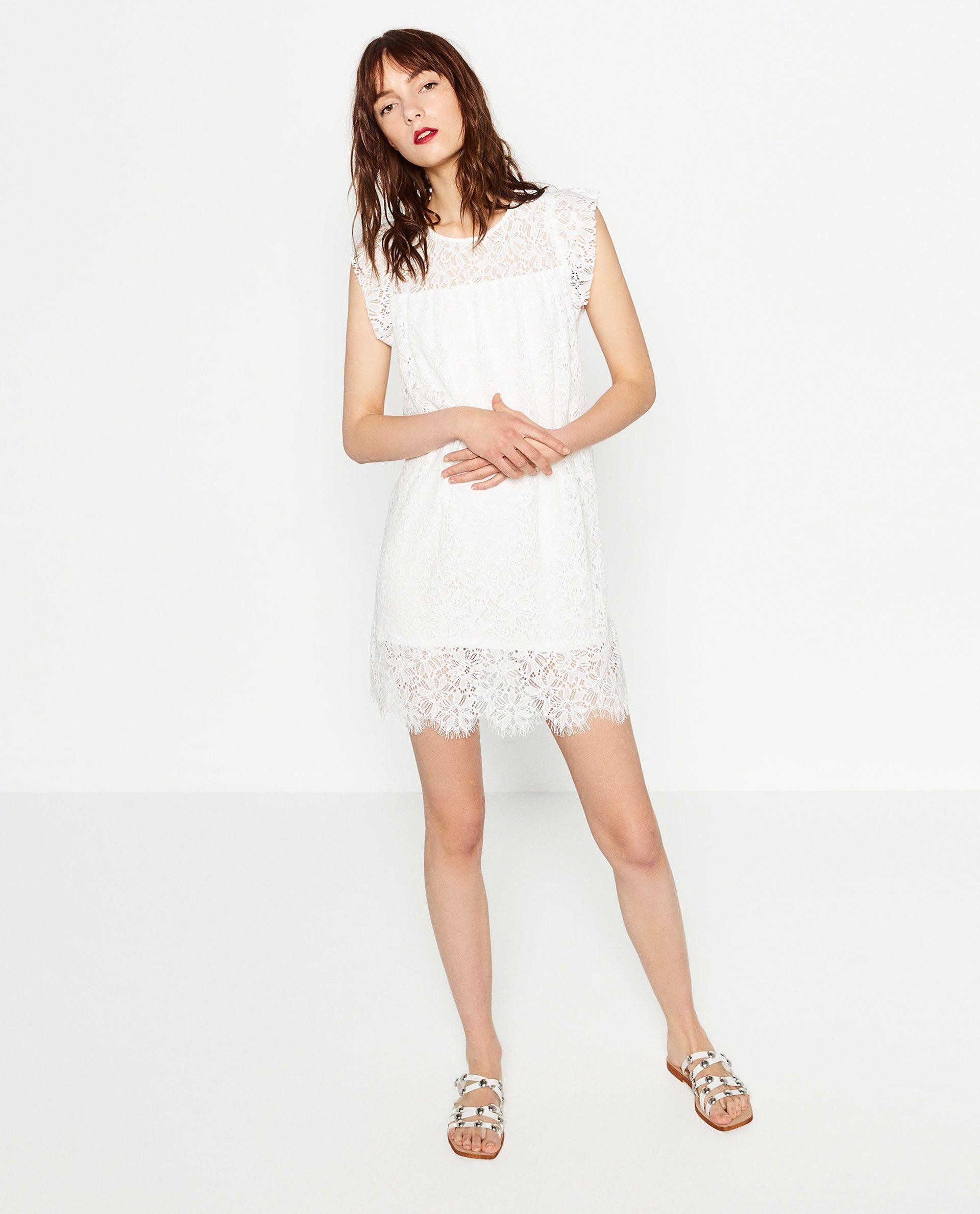 White lace dress zara  Pin by DeYs RoQue on IZARA  Pinterest