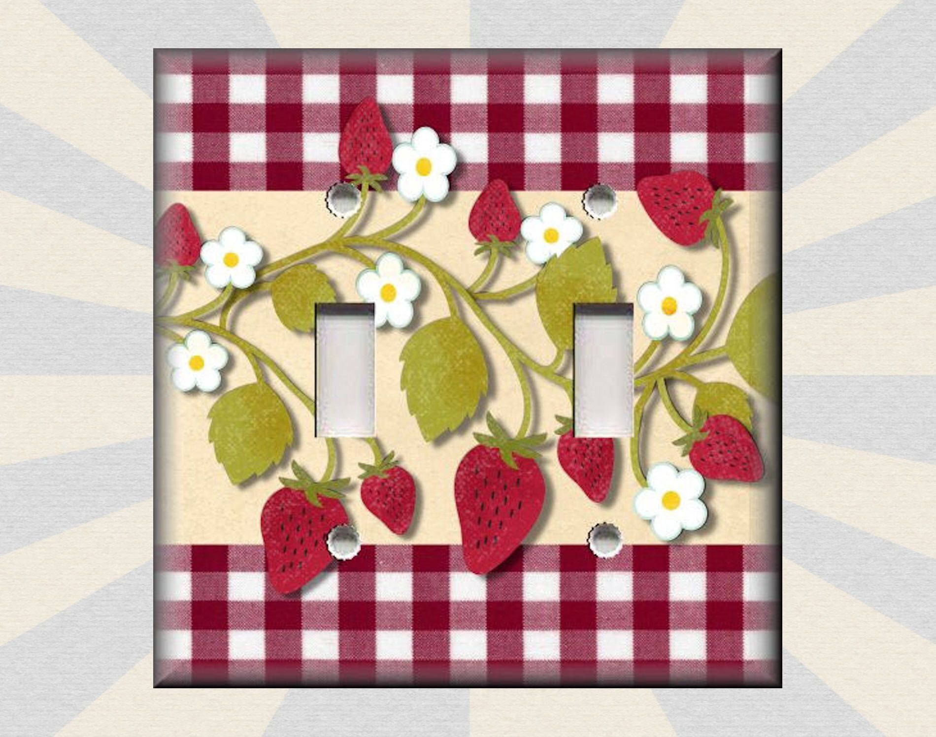 Metal Light Switch Plate Cover - Kitchen Decor Strawberries Decor ...