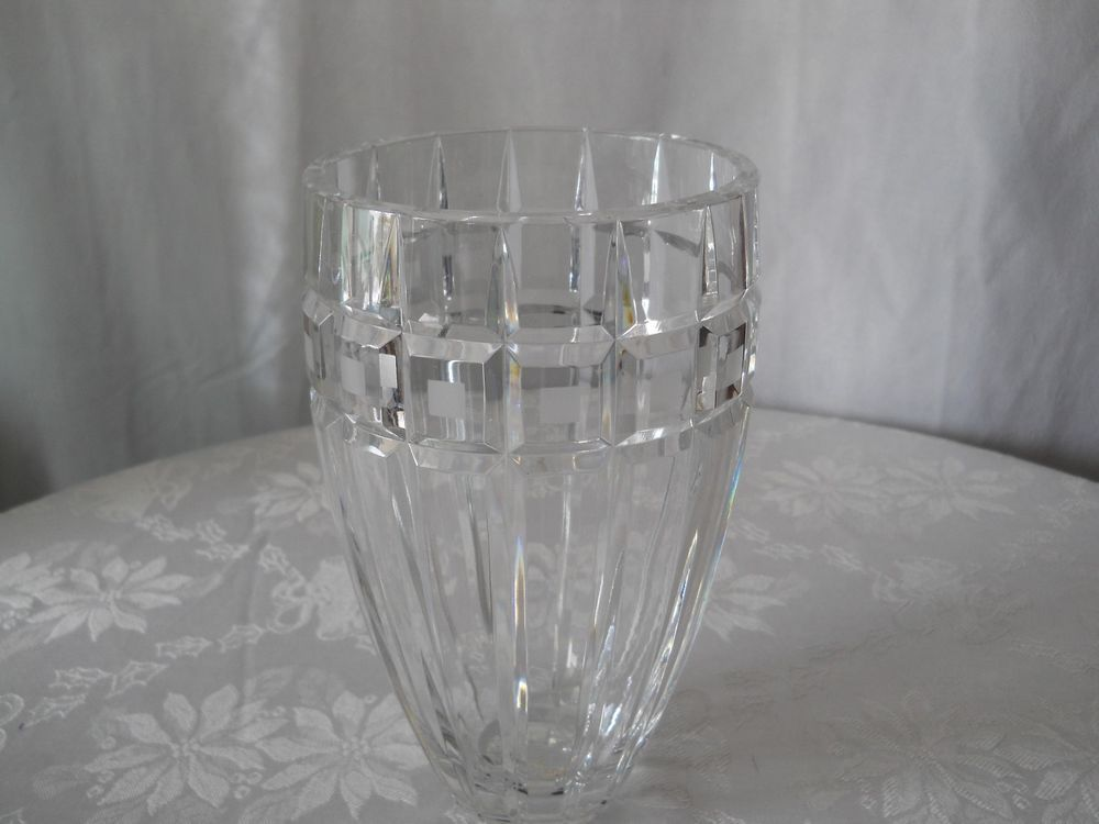 Wonderful Vintage Waterford Marquis Signed Quadrata 8 Inch Clear Crystal Vase Modernist Waterford Crystal Vase Vase Waterford Marquis