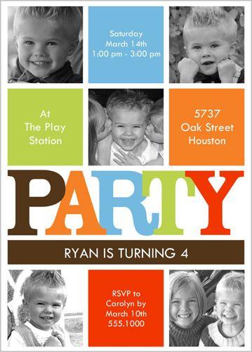 Modern Party Boy Birthday Invitation