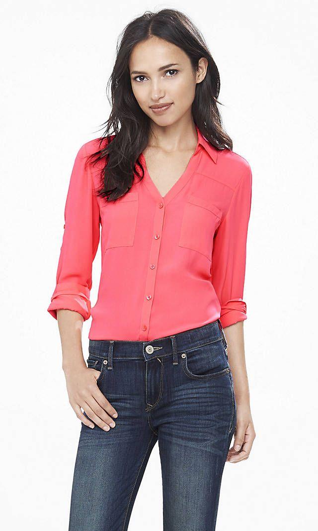 ed35b4880b79 Slim Fit Convertible Sleeve Portofino Shirt Brown Women s XS ...
