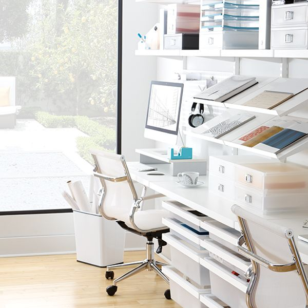 office closet shelving. White Elfa Office System From The Container Store Office Closet Shelving N