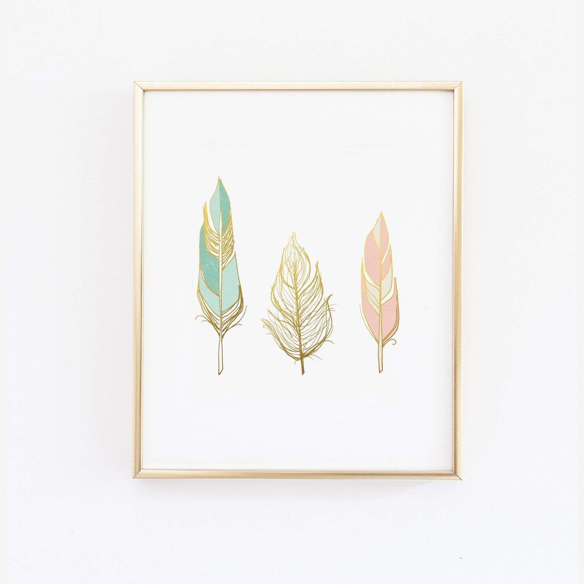 Three feathers in blush teal and gold Wall Print images