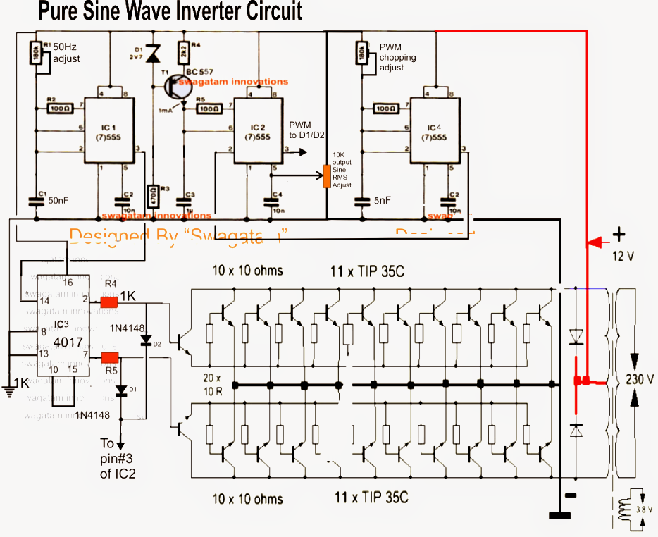 7 Modified Sine Wave Inverter Circuits Explored 100w To 3kva Homemade Circuit Projects Circuit Diagram Sine Wave Circuit Projects
