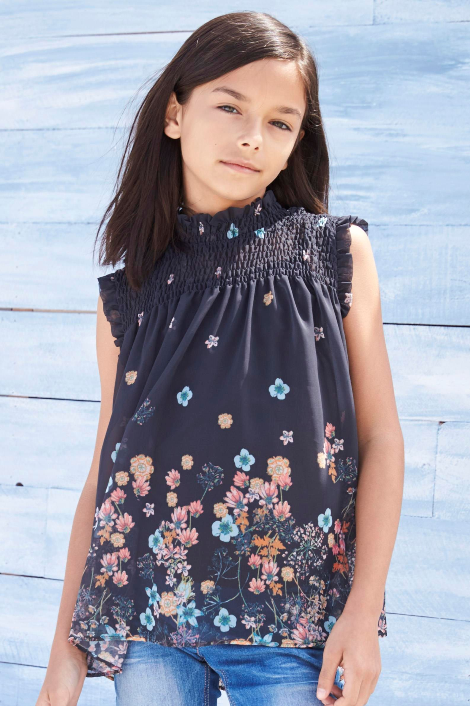 0ba9a8e1 Charcoal Charcoal Floral High Neck Blouse for Girls (3-14yrs) from the Next  UK online shop
