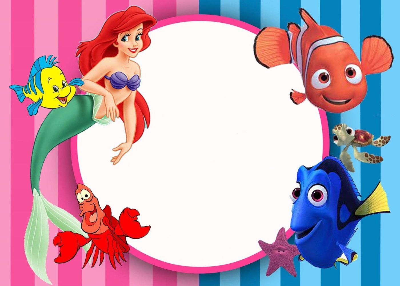 Little Mermaid Birthday Invitation Card Little Mermaid