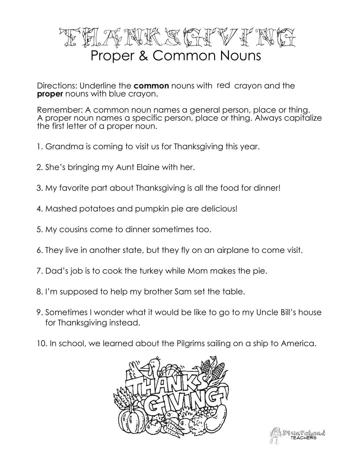 Proper Nouns Worksheet 2nd Grade Thanksgiving Mon Vs