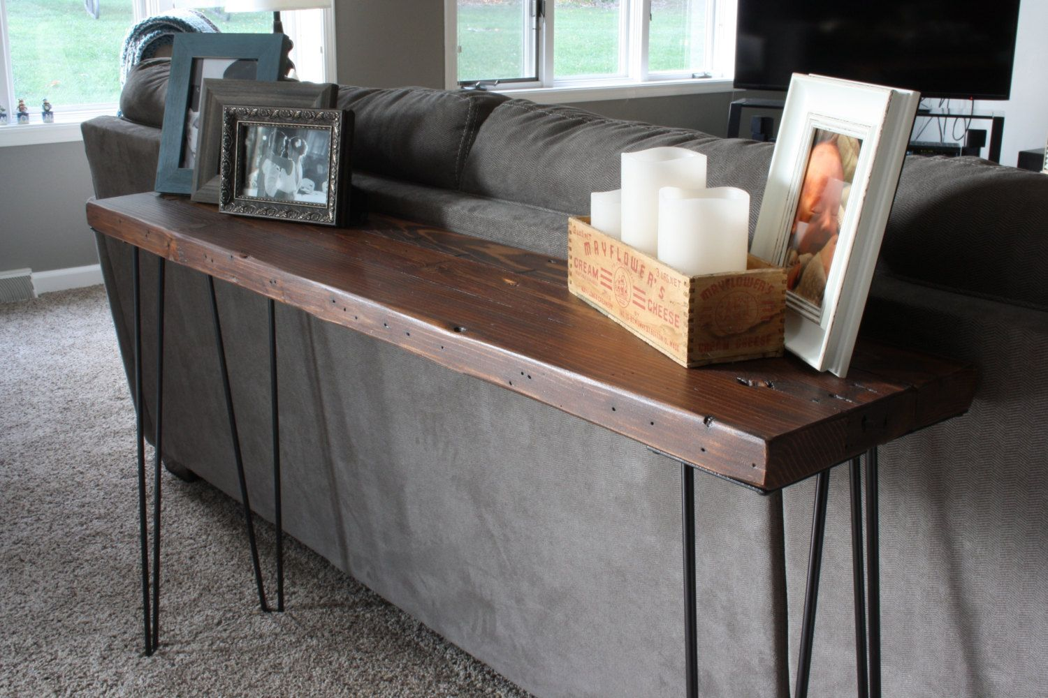 Counsel Table | Hairpin Legs | Metal | Reclaimed Wood | Sofa Table | Shabby  Chic