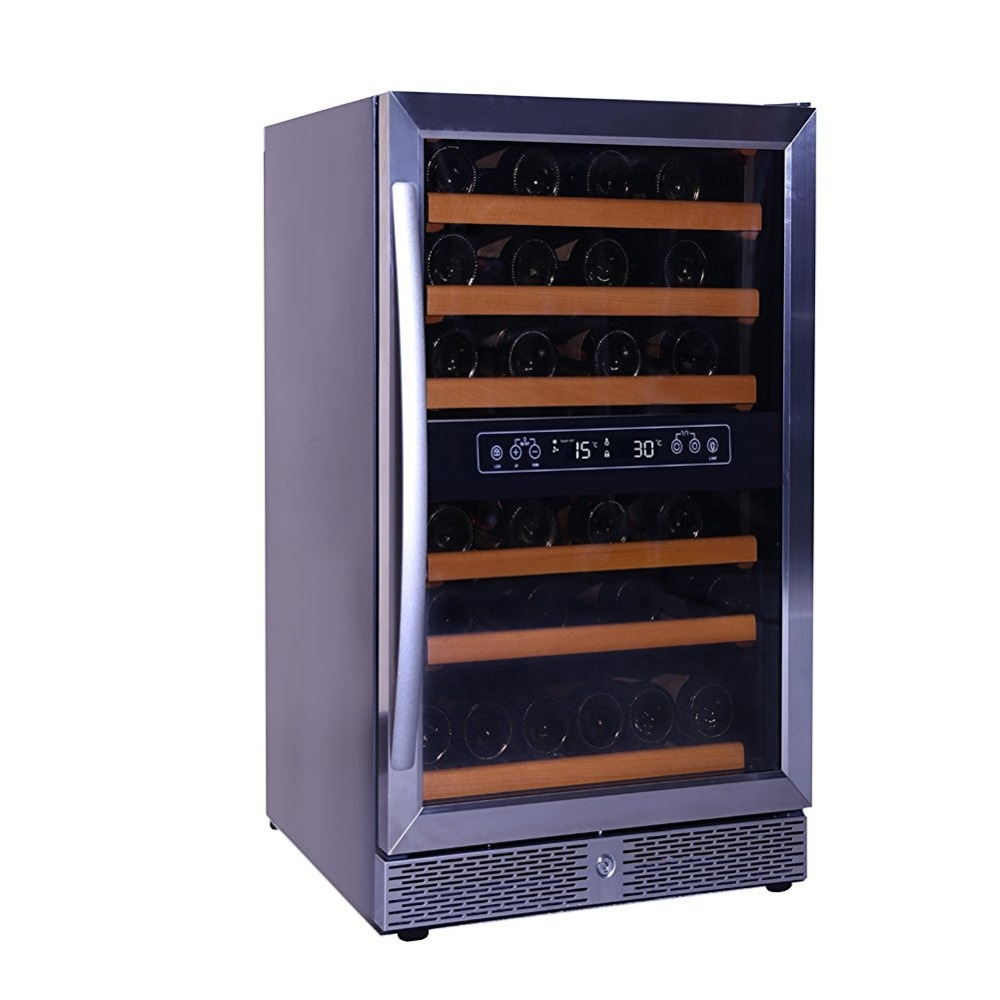 (844.00$)  Buy here  - Smad 46 Bottle Dual Zone Compressor Wine Fridge Cooler Built-In Beverage Champagne Refrigerator for Home Hotel Party