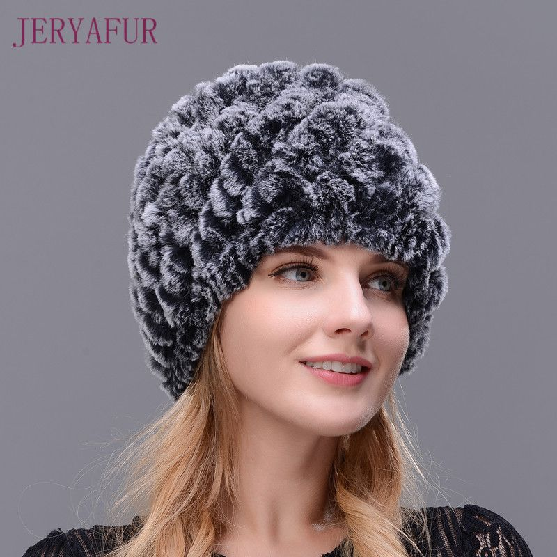 871218d740b Hot 2017 New 100% Genuine Knitted Rex Rabbit Fur Hat Winter Lady Floral Cap  Female