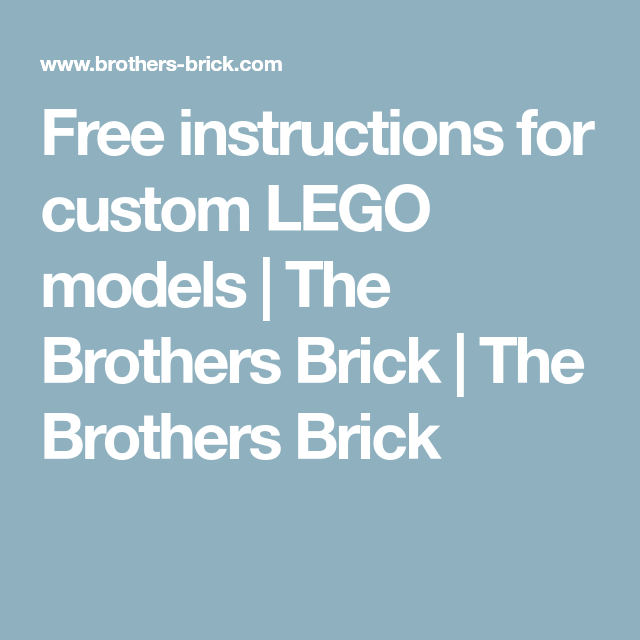 Free Instructions For Custom Lego Models Lego Models Custom Lego