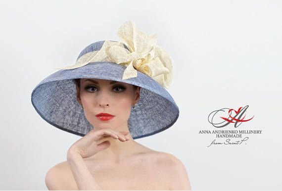 Light Blue and Cream White Blue Wide Brim Summer Hat. Kentucky ... a221582cf117