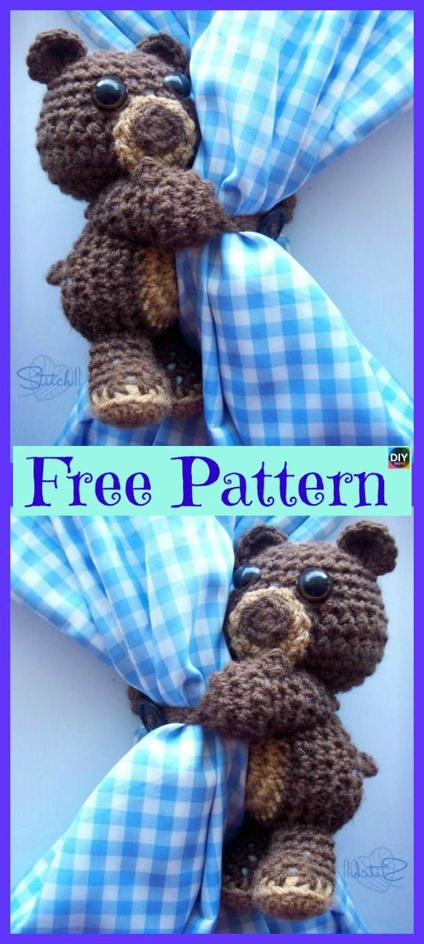 Super Cute Crochet Curtain Hugging Bear - Free Pattern | crochet ...