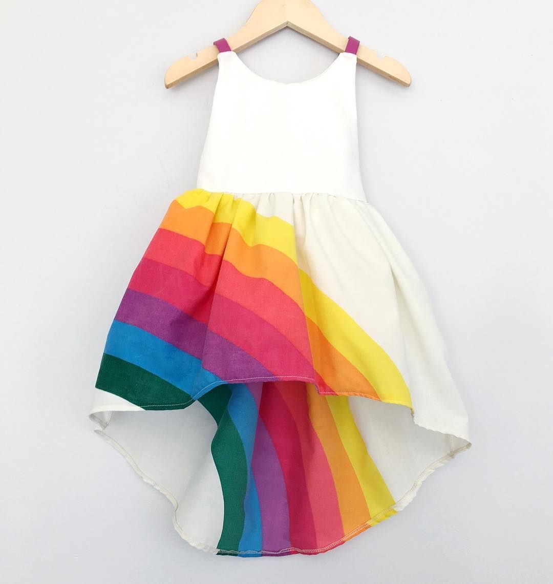 Toddler Baby Girl Summer Boho Rainbow Stripe Spaghetti Strap Beach Sun Dress