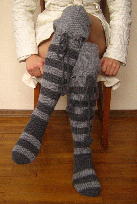 Someday....Long wool knit Ladies socks // Kneehigh Knitted by CatPurrKnitting, $60.00