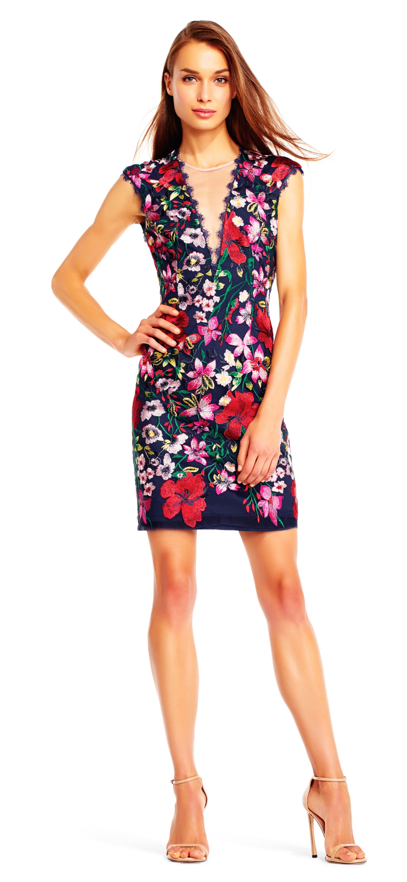 Adrianna Papell Embroidered Floral Mesh Gown