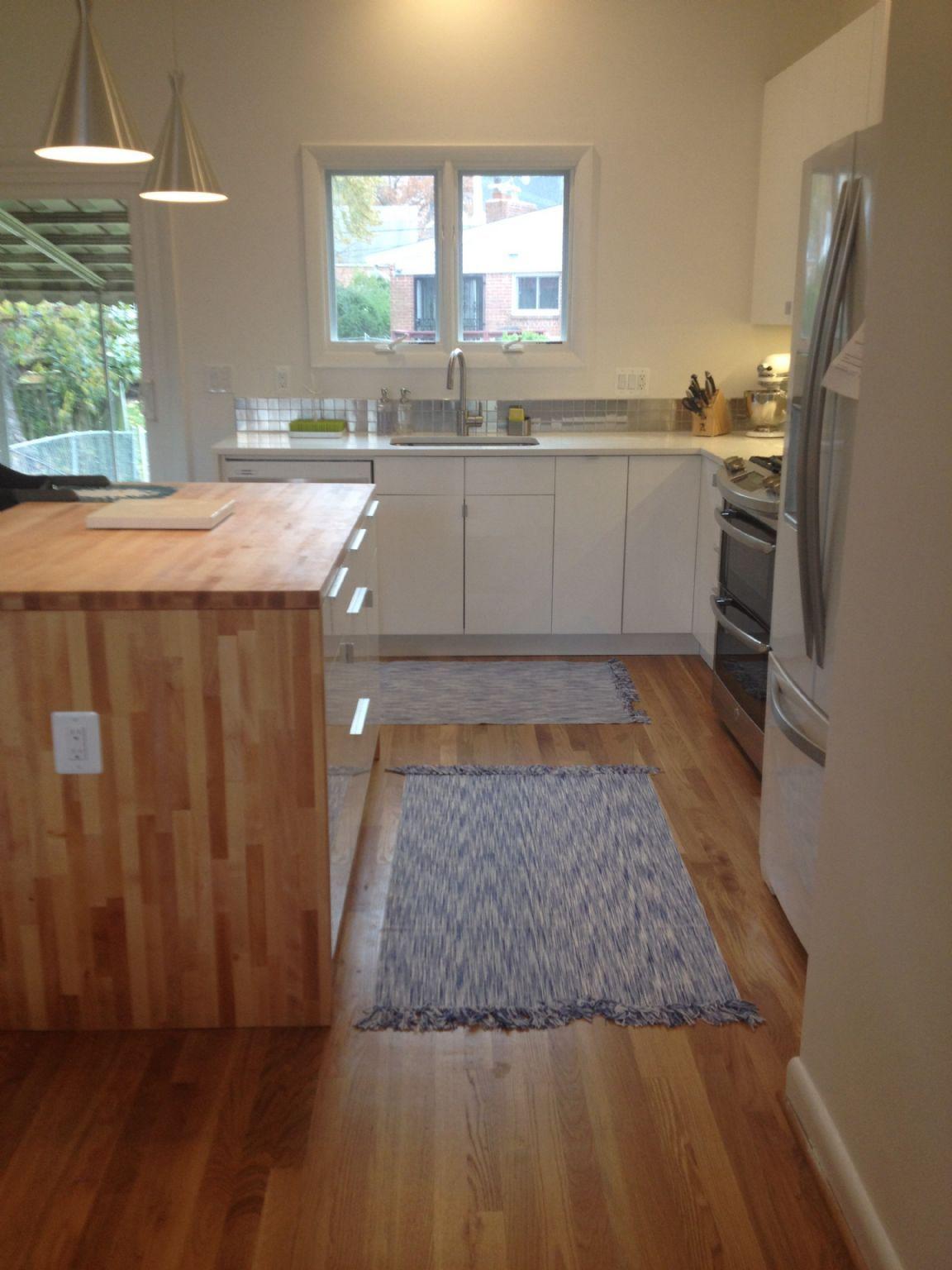 kitchen done ikea abstrakt cabinets ikea butcher block waterfall island whirlpool ice white. Black Bedroom Furniture Sets. Home Design Ideas