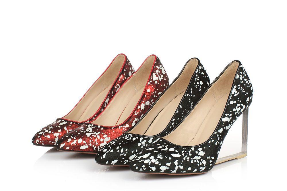 Ladies' Pumps Real Leather Horsehair Wedge High Crystal Heels Shoes US Size S335 #eastory #PlatformsWedges #Clubwear