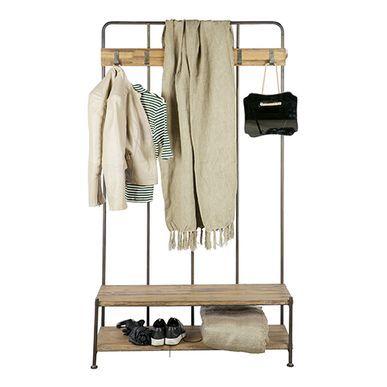 Meuble d´entrée vestiaire porte-manteau en métal et bois Giro